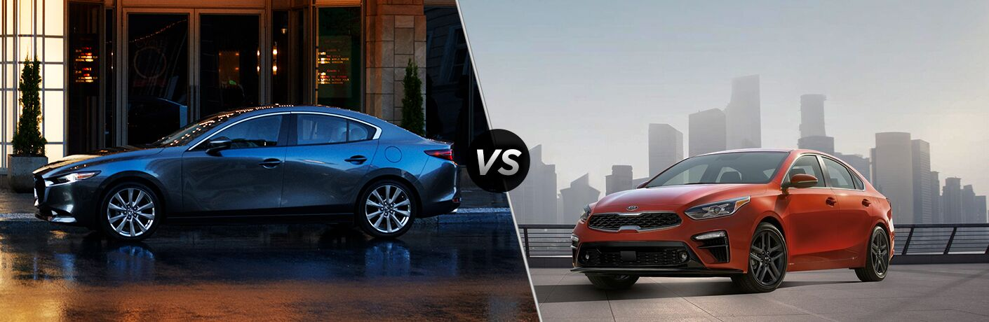Gray 2019 Mazda3 Sedan on a City Street vs Red 2019 Kia Forte on a Parking Structure