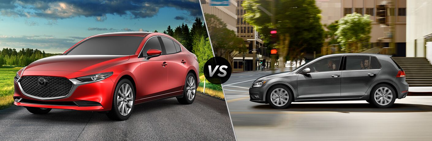 Red 2019 Mazda3 Sedan on a Country Road vs Gray 2019 VW Golf on a City Street