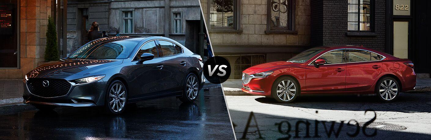 Gray 2019 Mazda3 Sedan on a City Street vs Red 2019 Mazda6 on a City Street