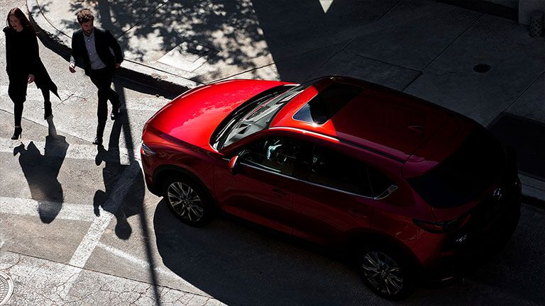 Overhead view of the 2019 Mazda CX-5 parked on a city street