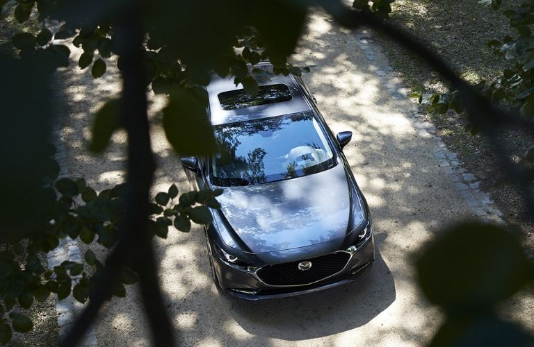 2020 Mazda3 viewed from above through trees