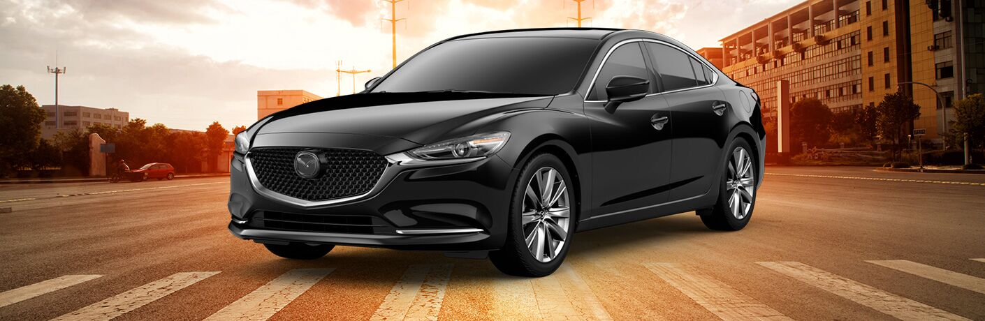 Black 2019 Mazda6 Grand Touring Reserve on a City Street