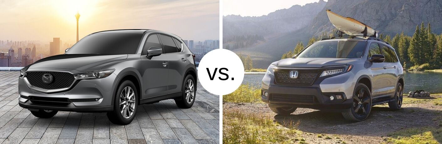 Silver 2019 Mazda CX-5 and Honda Passport models next to each other in comparison image