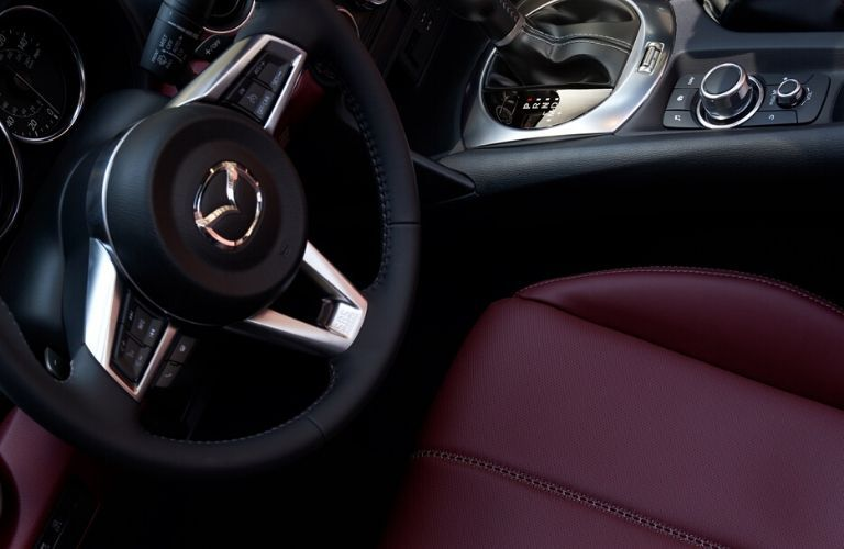 2020 Mazda MX-5 Miata front seat and steering wheel