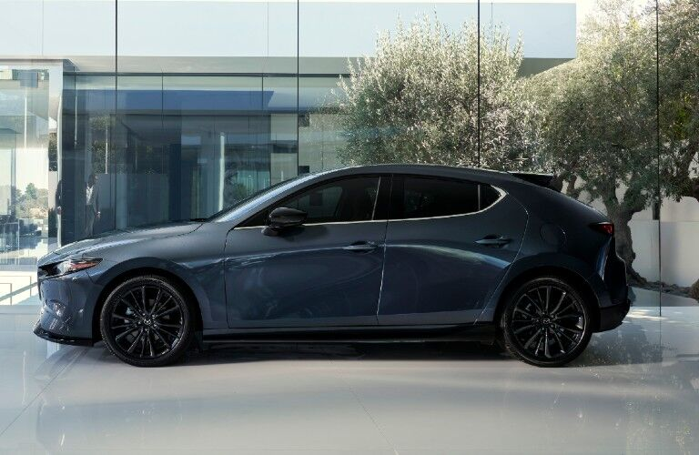 2021 Mazda3 2.5 Turbo side profile view in showroom