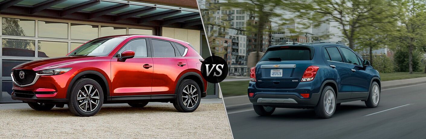 A side-by-side comparison of the 2018 Mazda CX-5 vs. 2018 Chevy Trax.