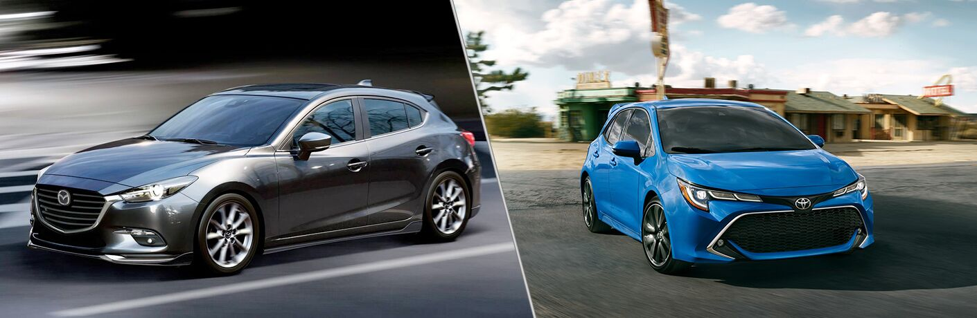 A side-by-side comparison of the 2018 Mazda3 5-Door vs. 2019 Toyota Corolla Hatchback.