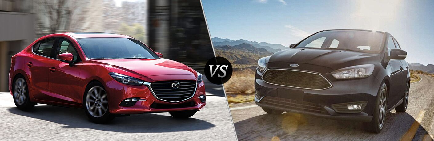 A side-by-side comparison of the 2018 Mazda3 Sedan vs. 2018 Ford Focus.