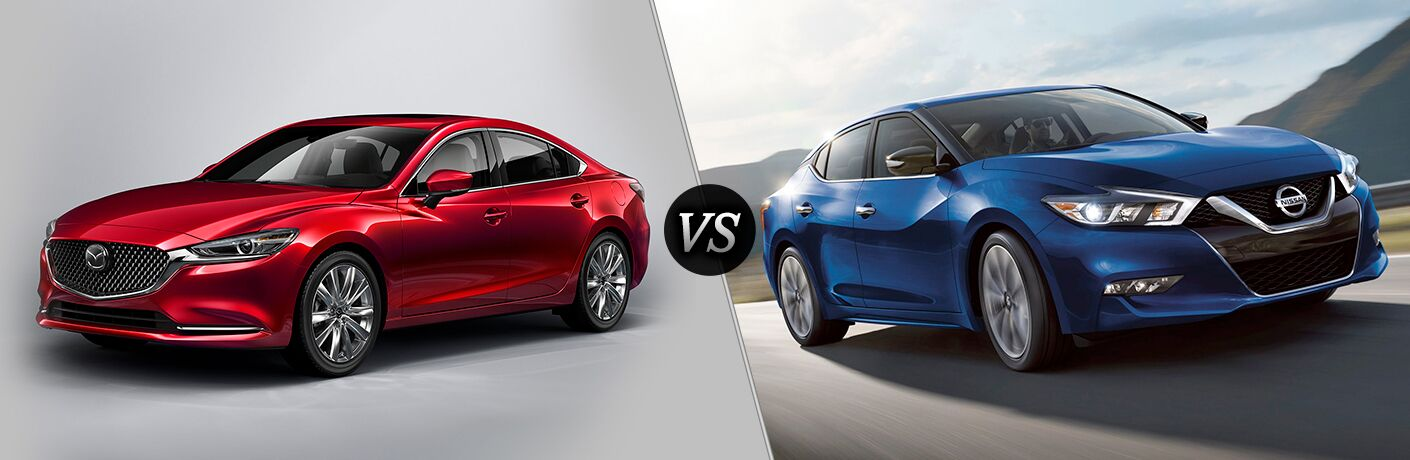 Another side-by-side comparison of the 2018 Mazda6 vs. 2018 Nissan Maxima.