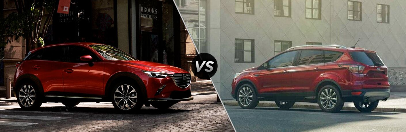 A side-by-side comparison of the 2019 Mazda CX-3 Sport vs. 2019 Ford Escape.