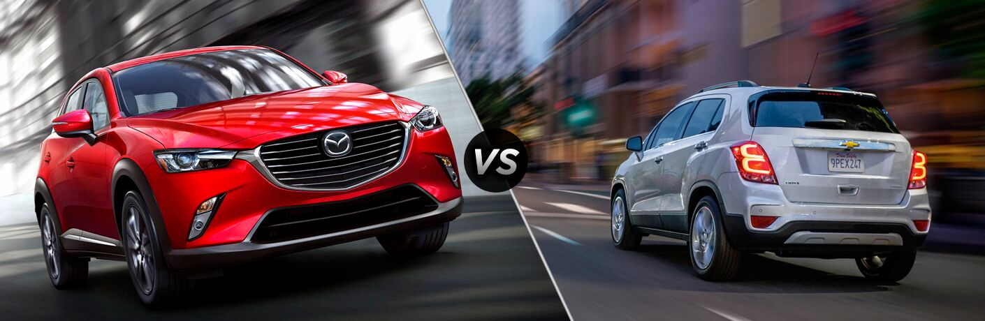 A side-by-side comparison of the 2019 Mazda CX-3 vs. 2018 Chevy Trax.