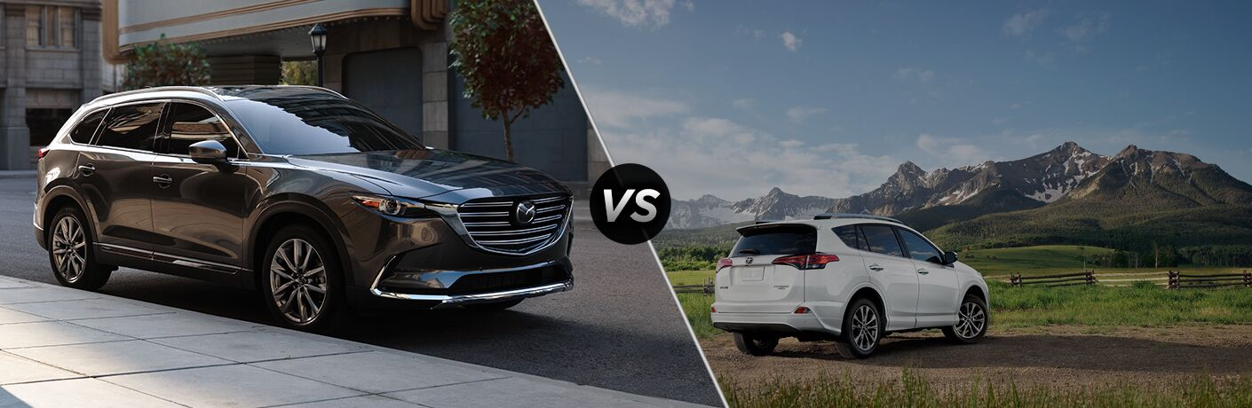A side-by-side comparison of the 2019 Mazda CX-9 vs. 2018 Toyota RAV4.
