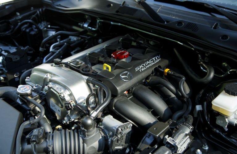 A photo of the new engine used in the 2019 Mazda MX-5 Miata.