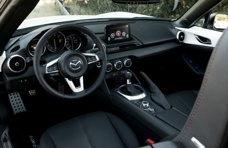 A photo of the driver's cockpit in the 2019 Mazda MX-5 Miata.