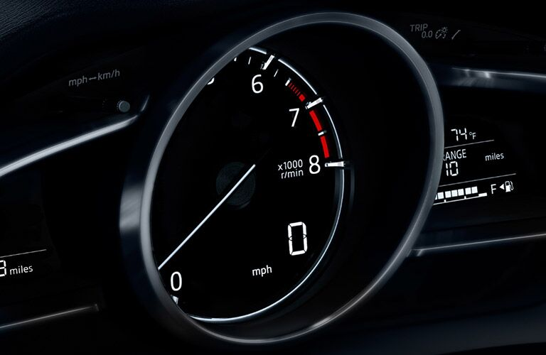 A photo of the tachometer in the 2018 Mazda3.