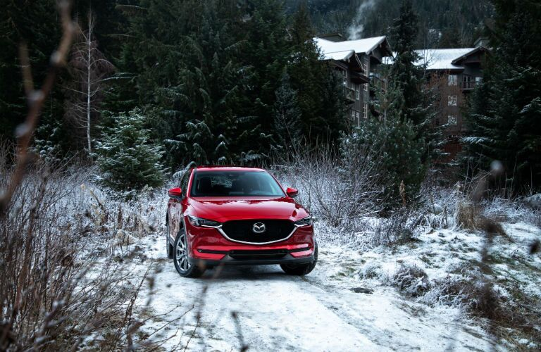 A photo of the 2019 MAzda CX-5 parked in the woods.