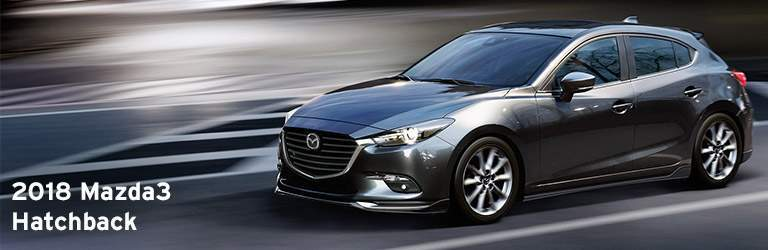 2018 Mazda3 Hatchback Written in White with Gray Mazda3 5-Door Exterior View