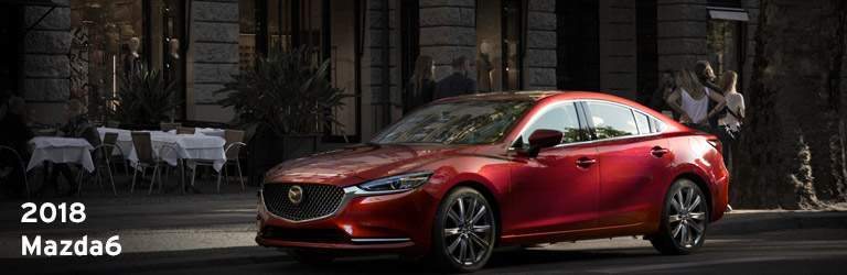 2018 Mazda6 Written in White with Side and Exterior View of Vehicle in Red