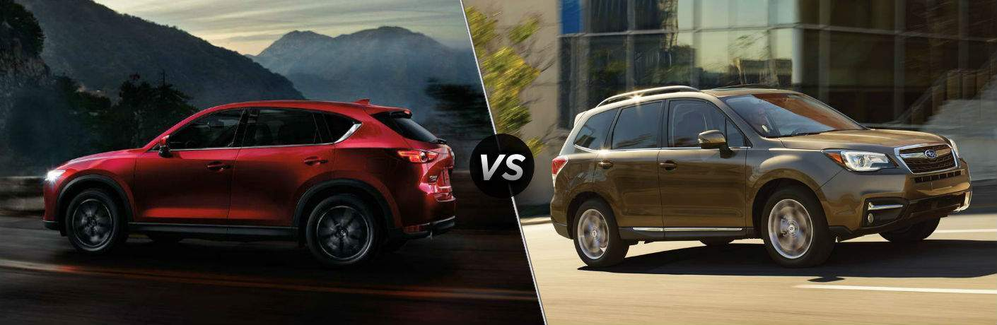 red 2018 Mazda CX-5 vs tan 2018 Subaru Forester