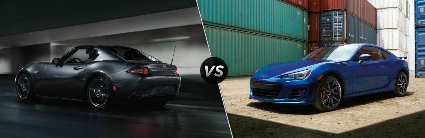 gray 2018 Mazda MX-5 Miata RF vs blue 2018 Subaru BRZ