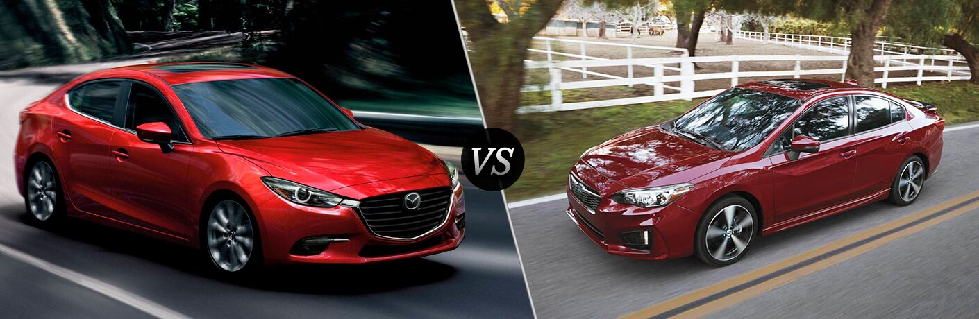 2018 Mazda3 exterior front fascia and passenger side vs 2018 Subaru Impreza exterior front fascia and drivers side
