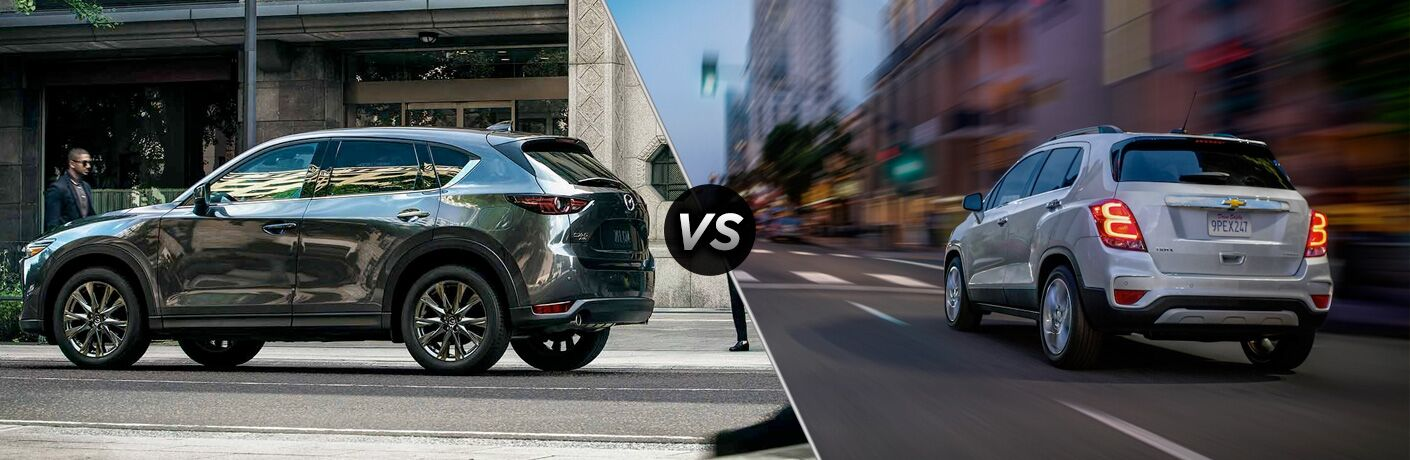 gray mazda cx-5 compared to white chevy trax