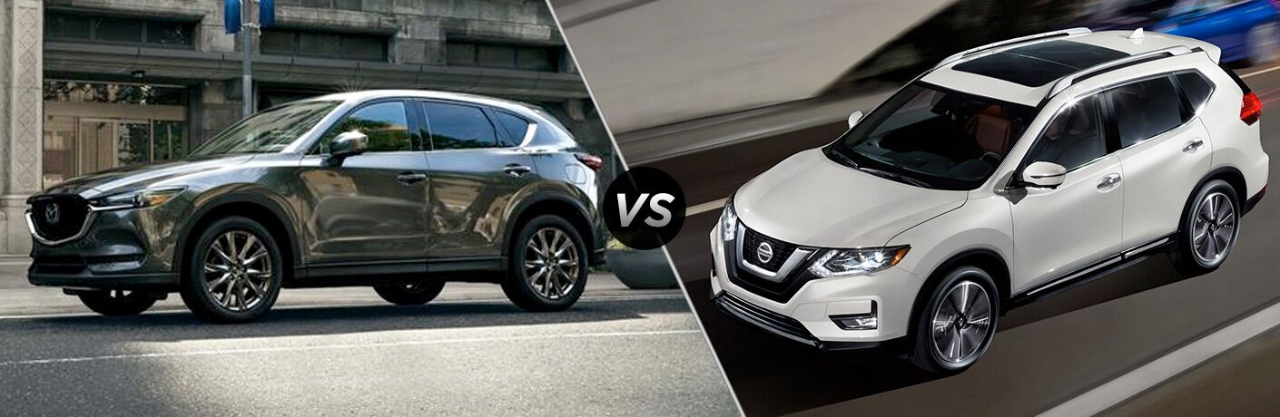 gray mazda cx-5 compared to white nissan rogue