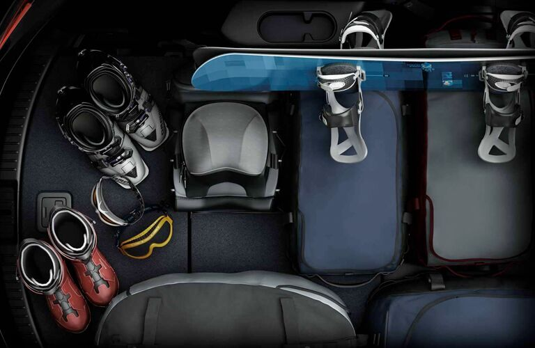 snowboard gear packed in mazda cx-9