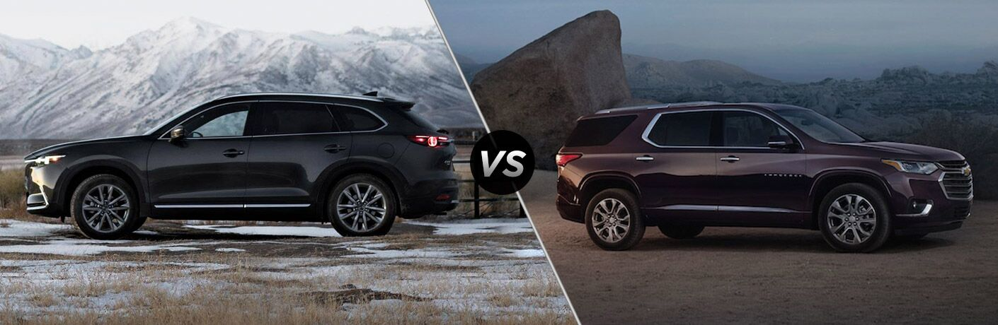 black mazda cx-9 compared to black chevy traverse