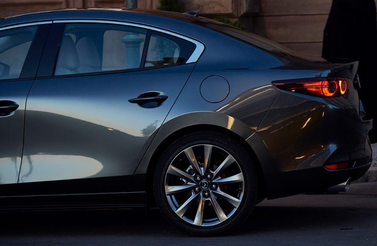 Close-up on the rear-end of the 2020 Mazda3 Sedan