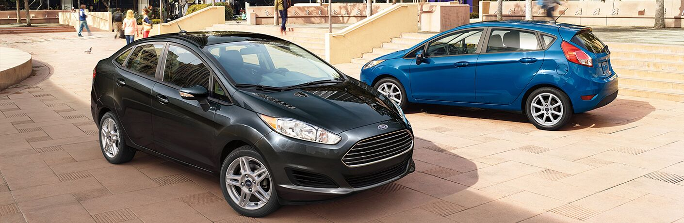 Black 2018 Ford Fiesta Sedan and Blue 2018 Ford Fiesta Hatchback