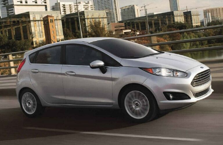 Side View of Silver 2018 Ford Fiesta