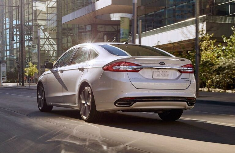 Rear View of White 2018 Ford Fusion
