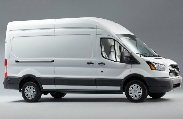 Side View of White 2018 Ford Transit Cargo Van