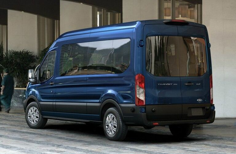 Rear View of Blue 2018 Ford Transit Passenger Wagon