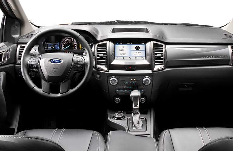 Steering Wheel, Gauges, Touchscreen and Front Seats of 2019 Ford Ranger