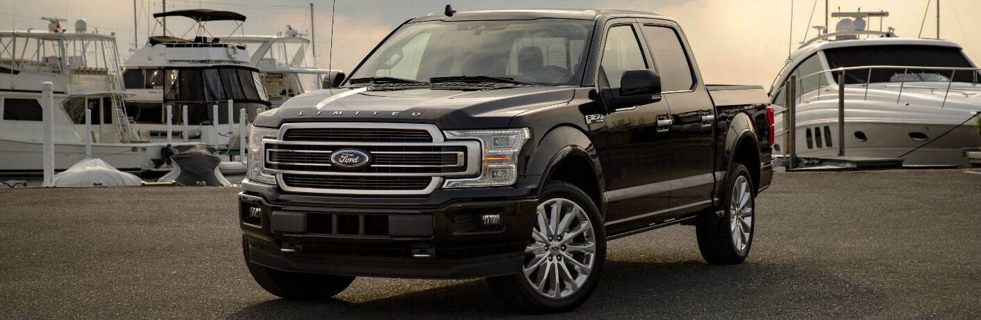 Black 2019 Ford F-150 with Boats in the Background