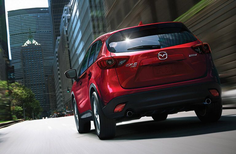Rear of red 2016 Mazda CX-5