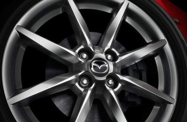 Closeup of wheel on 2017 Mazda MX-5 Miata