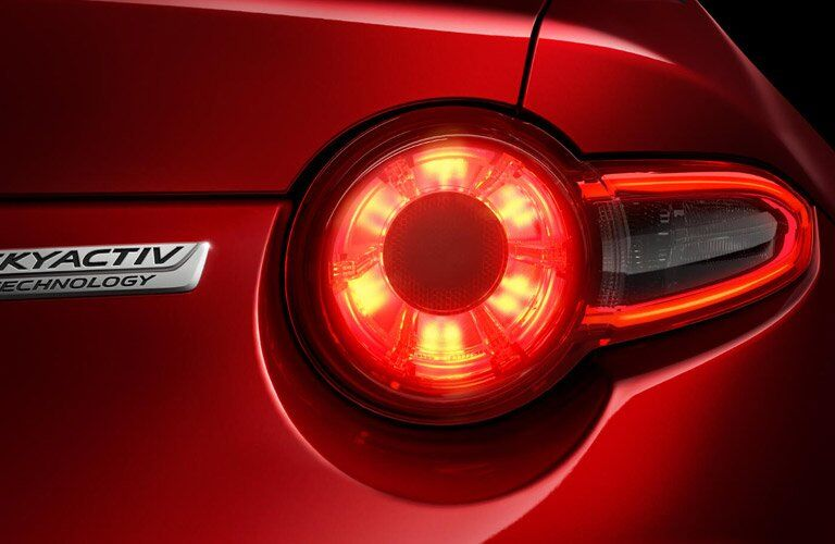 Closeup of taillight on 2017 Mazda MX-5 Miata