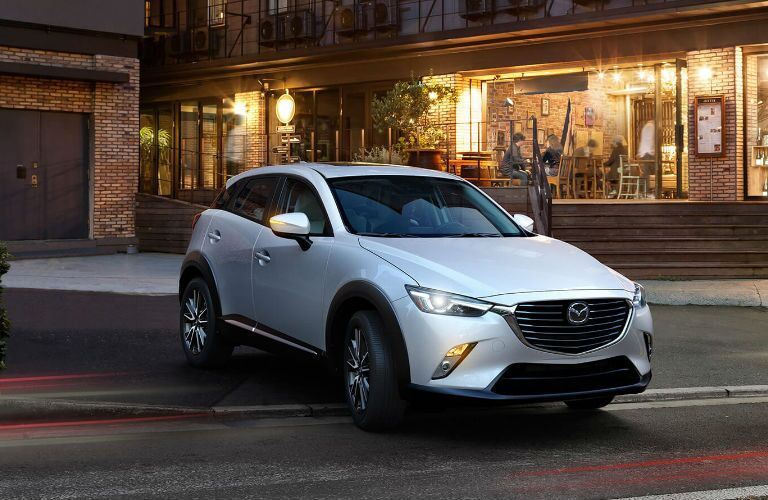 2017 Mazda CX-3 Front View of Grille and Side in White