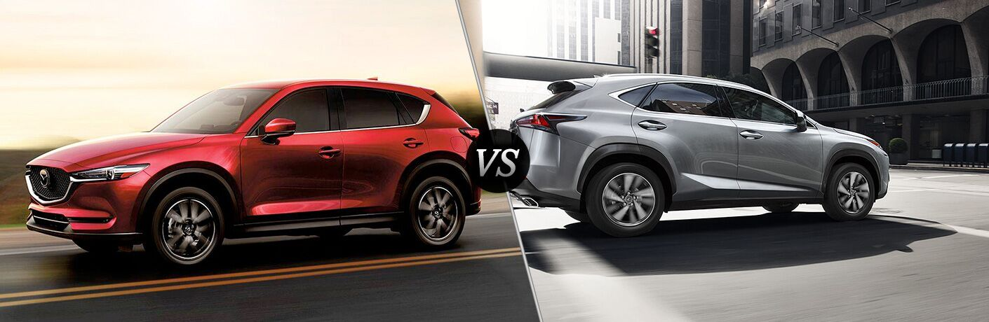 side by side images of the 2018 Mazda CX-5 and 2018 Lexus NX