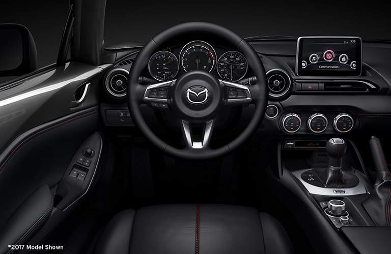 Steering Wheel Close Up in the 2018 Mazda MX-5 Miata in Black Coloring