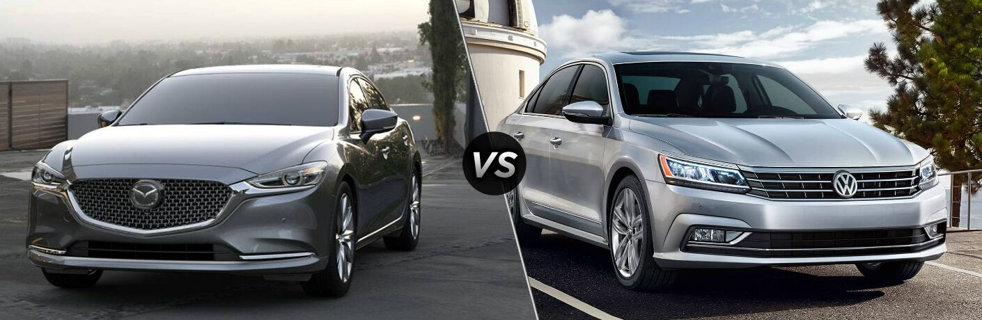 2018 Mazda6 and 2018 Volkswagen Passat side by side
