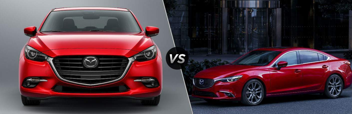 2018 Mazda3 in Red vs 2017.5 Mazda6 in Red