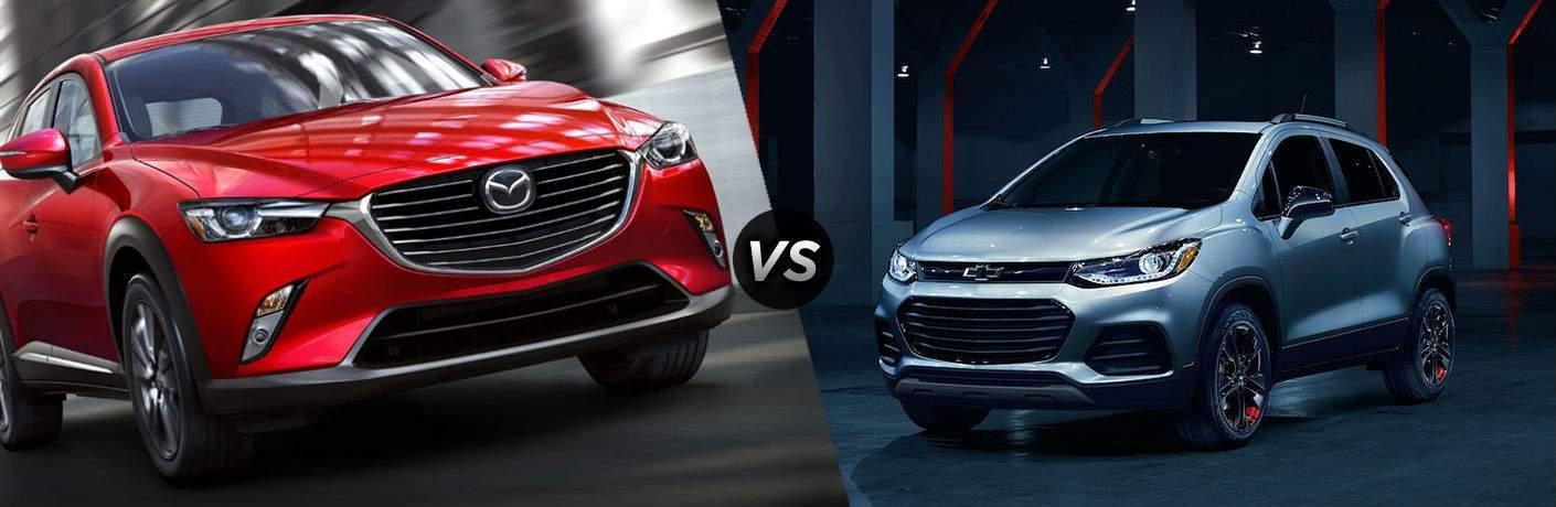 2018 Mazda CX-3 in Red vs 2018 Chevrolet Trax in Silver