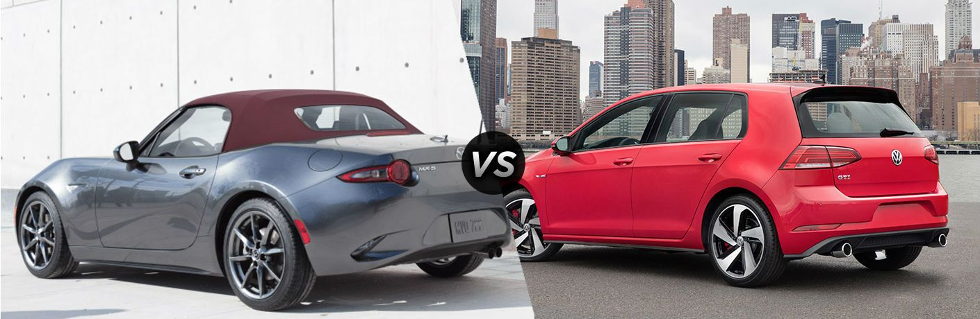 2018 Mazda MX-5 Miata in Gray vs 2018 Volkswagen Golf GTI in Red