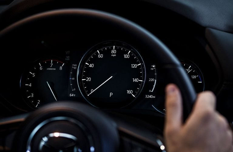 Closeup of gauges in 2019 Mazda CX-5 Signature