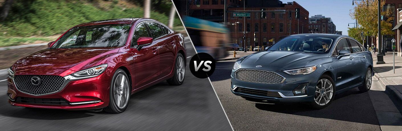 Red 2019 Mazda6 and blue 2019 Ford Fusion