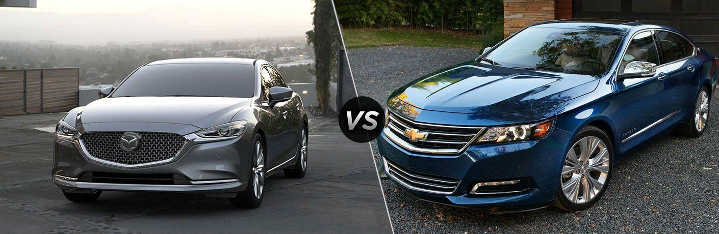 Grey 2019 Mazda6 and blue 2019 Chevrolet Impala